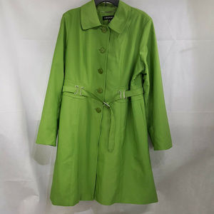 I Madison Belted Green Trench Coat Jacket Size XL